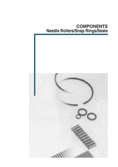 Components Needle rollers / Snap rings / Seals
