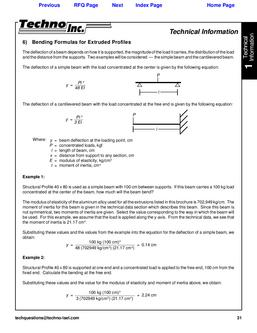 Bending Formulas for Extruded Profiles