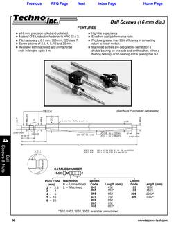 Ball Screws - Metric, 16 mm diameter