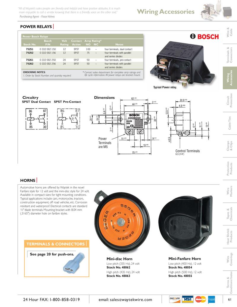 Power Relays Horns By Waytek Inc Wire Connectors Electrical