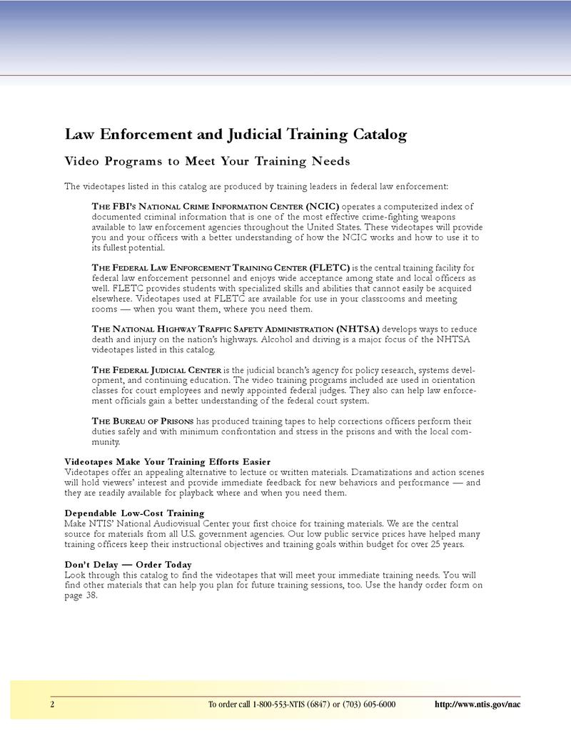 Page 3 Of Law Enforcement And Judicial Training Catalog