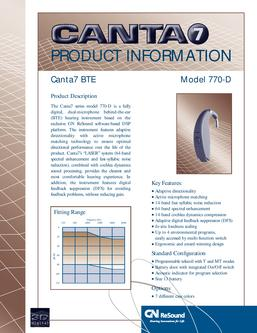 GN Resound Canta 7 Behind the Ear 770D Technical Guide