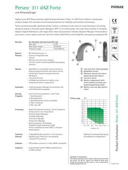 Phonak Perseo Behind the Ear 311dAZ Technical Guide