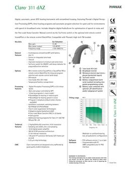 Phonak Claro Behind the Ear 311dAZ Technical Guide