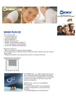 Widex Senso Plus CIC Technical Guide