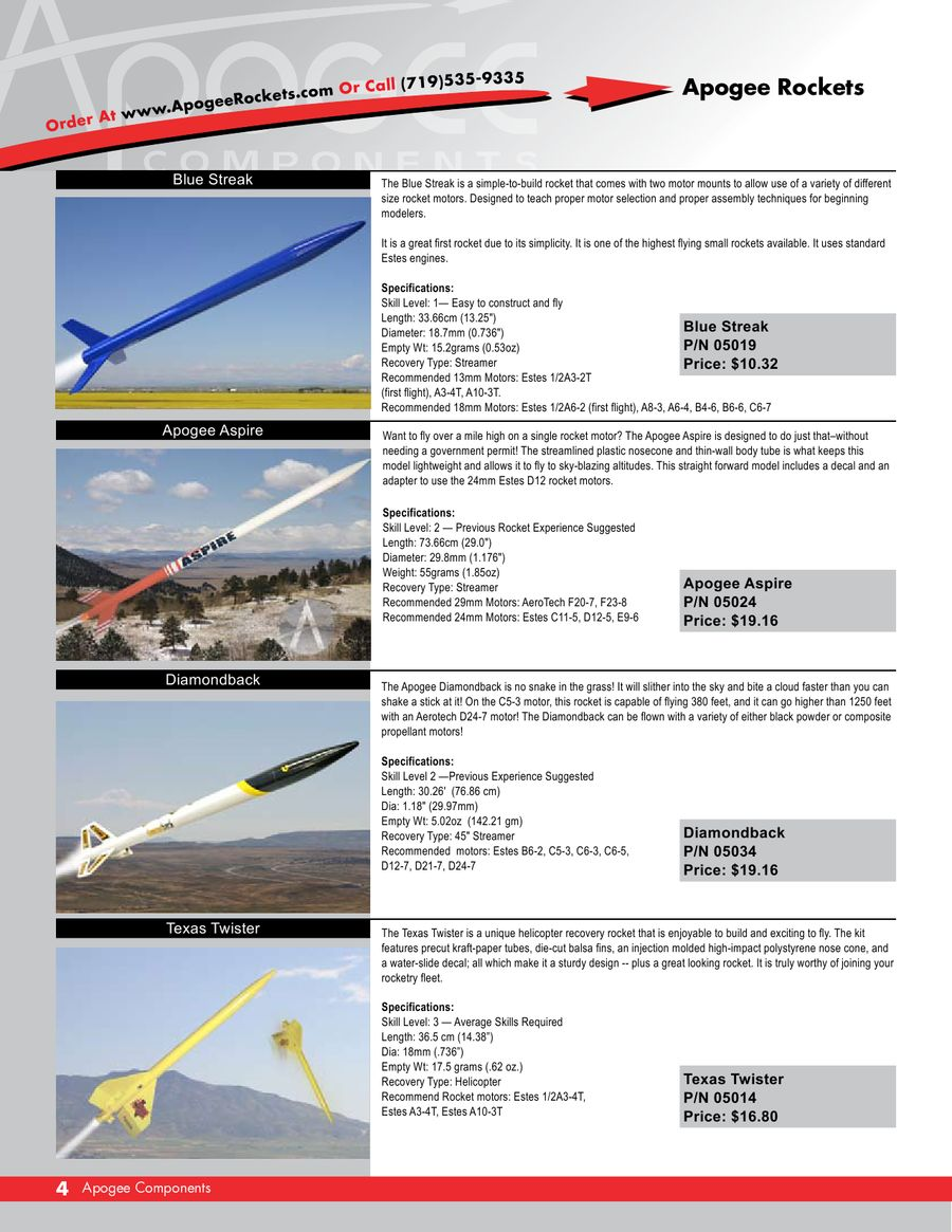 Flying Model Rockets 2007 - 2008 by Apogee Components, Inc