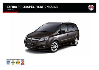 Zafira Price and Specifications Guide 2014
