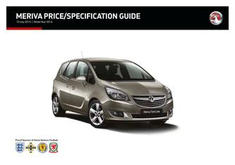 Meriva Price and Specifications Guide 2015