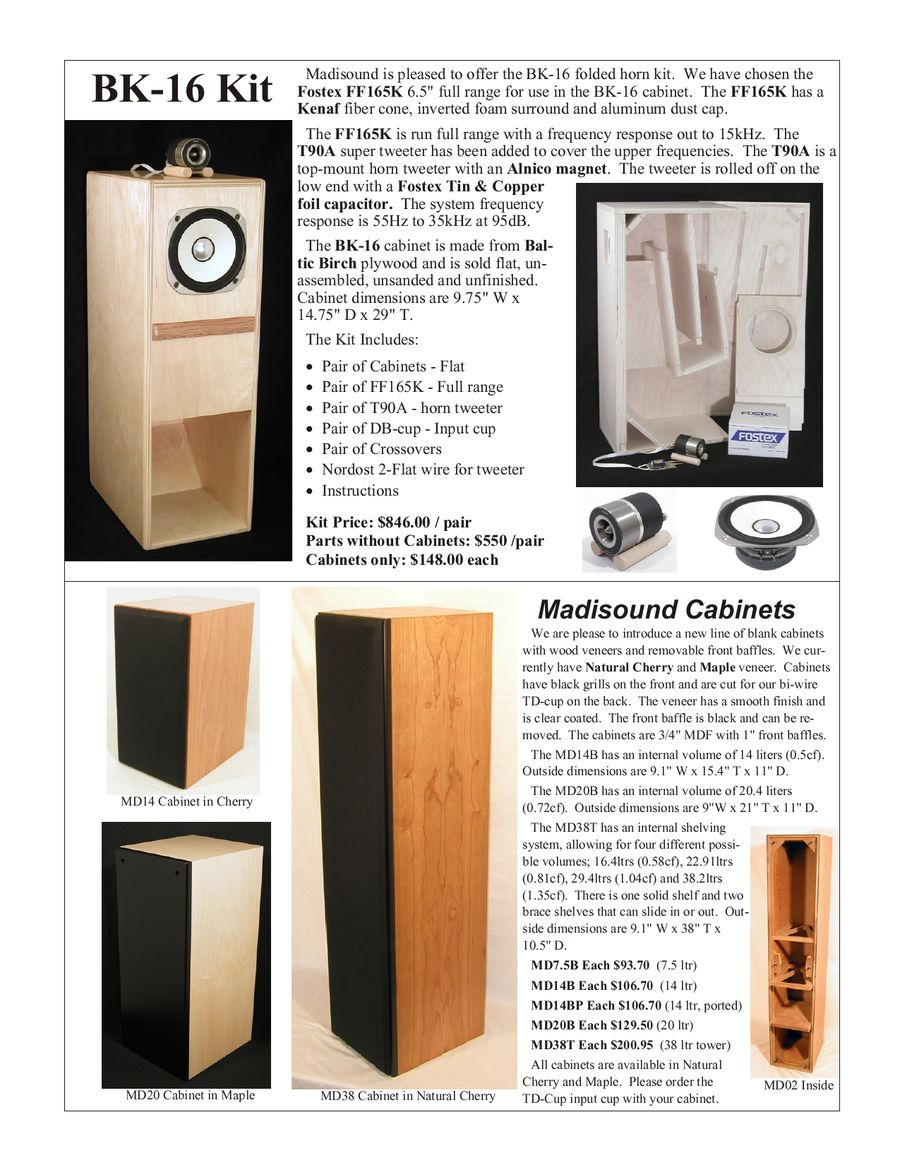 BK16 Cabinets by Madisound Speaker Components