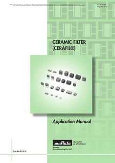 "Ceramic Filters ""CERAFIL®"" Application Manual"