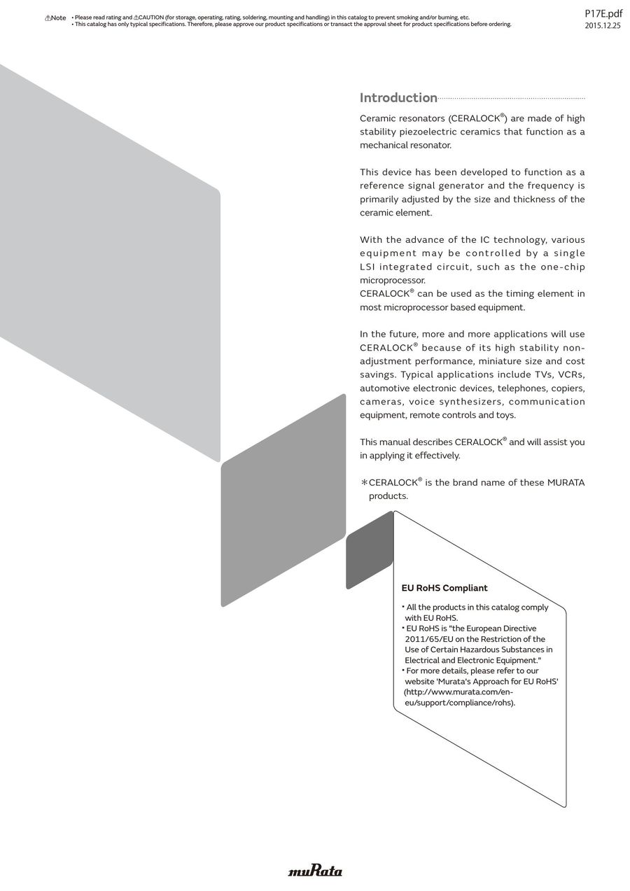 Ceramic Resonators CERALOCK® Application Manual 10/06/2016 by Murata