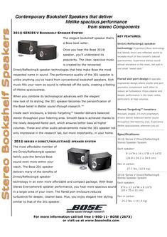 201® Series V Direct /Reflecting® Speaker System