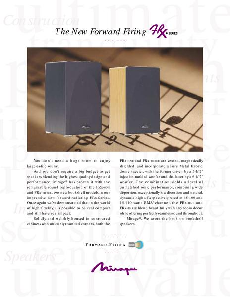 Catalogue: Mirage Speakers FRx-S10
