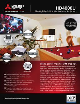HD4000U High Definition Media Center Projector