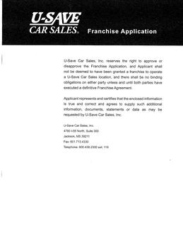 U-Save Dealership Franchise Application