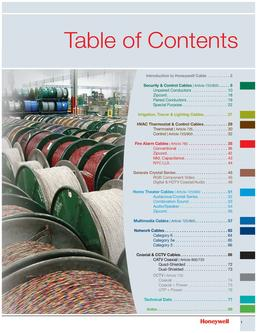 Genesis Series Cable Table of Contents
