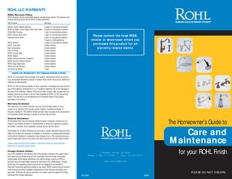 ROHL's Care & Maintenance Guide plus Warranty