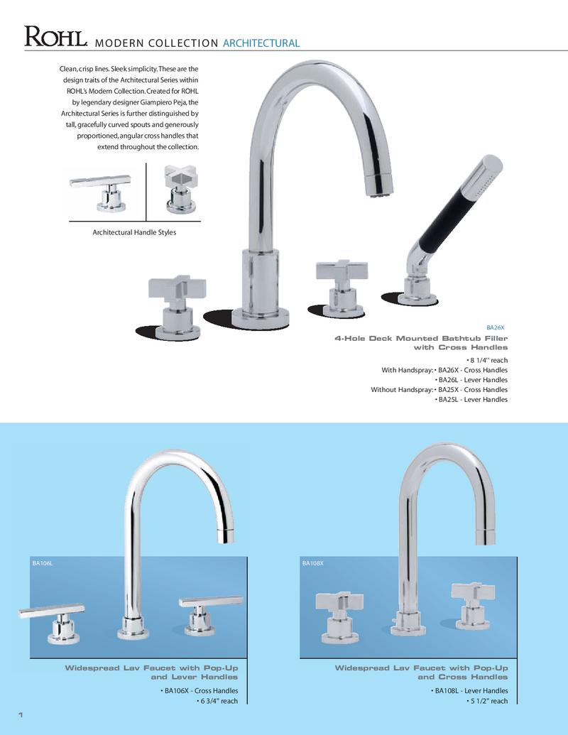 Rohl ZZ93705021-APC Modern Architectural Cross Handle Only without Logo for Deck Mount Lavatory Faucets /& Tub Fillers Polished Chrome Trumbull Industries