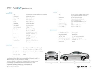 2007 Lexus SC Specifications