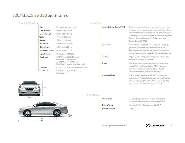 2007 lexus es 350 specifications by lexus u s a. Black Bedroom Furniture Sets. Home Design Ideas
