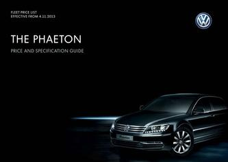 Phaeton Company car P11D price list 4.11.2013