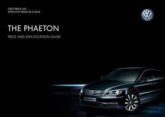 Phaeton Company car P11D price list 2014