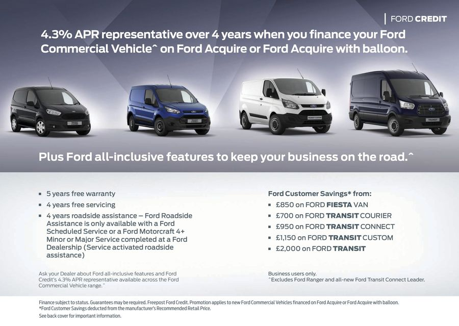 Ford Credit Commercial Vehicle Finance Promotions 2015 by