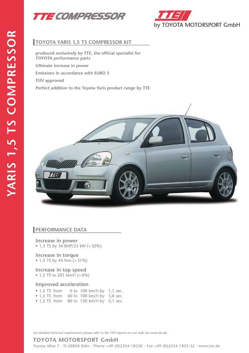 toyota yaris 1,5 ts p1 compressor kit image brochure