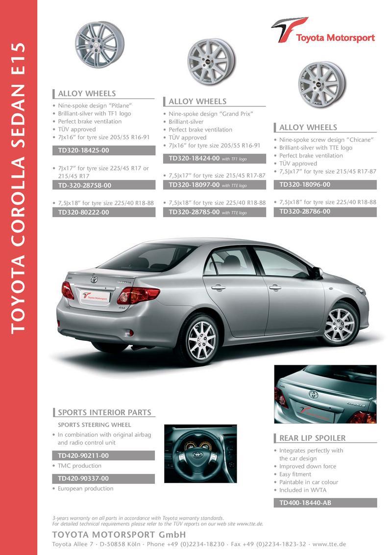 toyota corolla sedan e15 by tte by toyota motorsport gmbh rh who sells it com