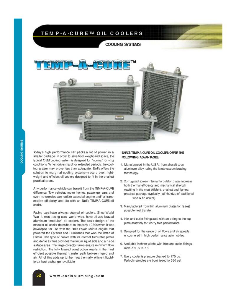 Black Narrow Coole... 25 Rows Earls 22516AERL Earls Temp-A-Cure Oil Cooler