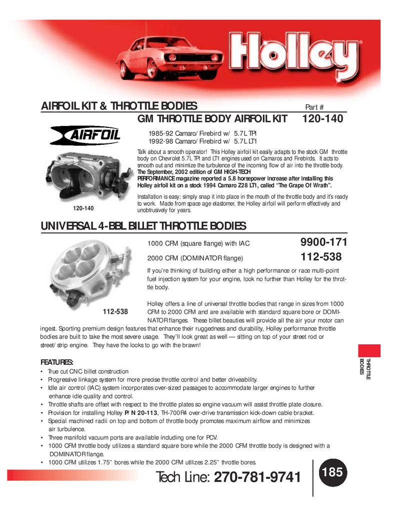 Holley Fuel Injection Throttle Body 120-140;