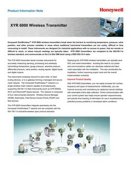 Honeywell XYR6000 Wireless Transmitters Product Information 2014