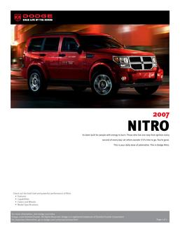 Dodge Nitro InfoSheet 2007 by Dodge