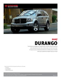 Dodge Durango InfoSheet 2007 by Dodge