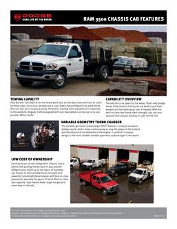 Dodge RAM 3500 Chassis Cab Features 2007