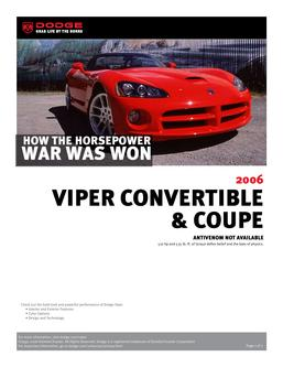 Dodge Viper InfoSheet 2007 by Dodge