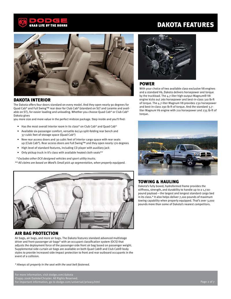 Pleasant Dodge Dakota Infosheet 2007 By Dodge Machost Co Dining Chair Design Ideas Machostcouk