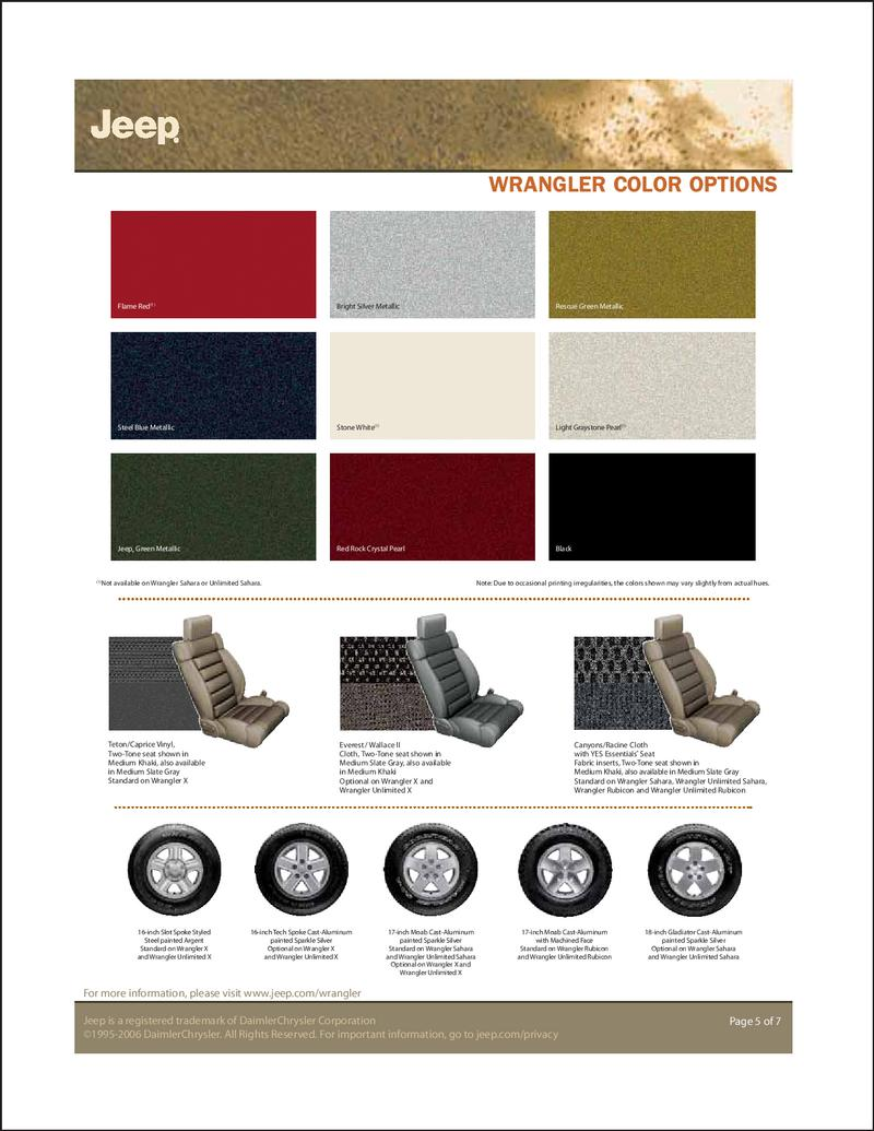 jeep wrangler color options 2007 - Paint Color Options