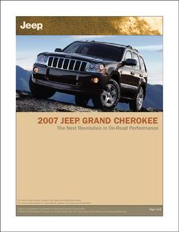 2007 Jeep Grand Cherokee InfoSheet