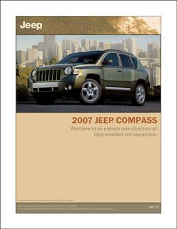 2007 Jeep Compass Info Sheet 2007