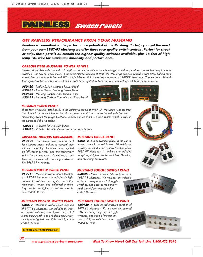Switch Panels Mustang By Perfect Performance Products Llc Painless Wiring Panel