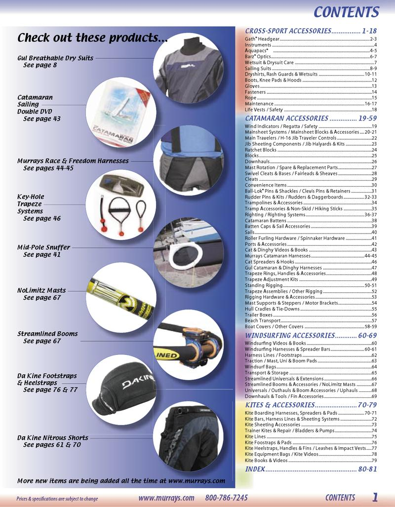 Accessories for catamaran and dinghy sailing, windsurfing