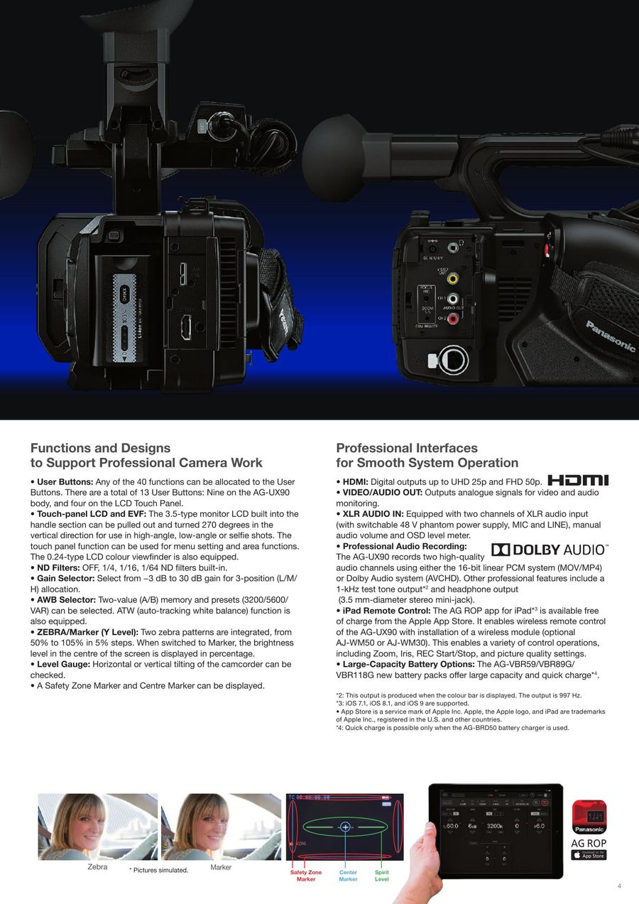 Page 5 of Professional 4K Camcorder AG-UX90 2018