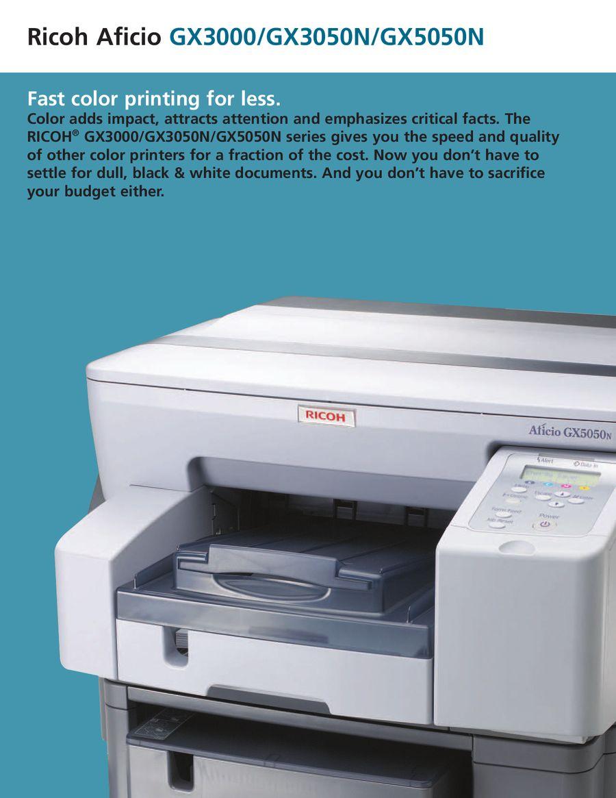 ricoh aficio gx3000 gx3050n gx5050n desktop color printer by ricoh usa