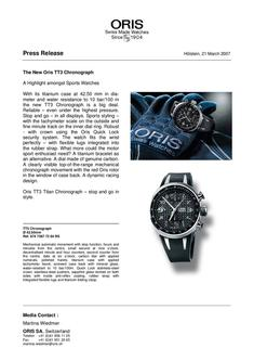 The New Oris TT3 Chronograph