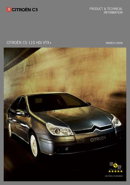 citroen c5 110 hdi vtx brochure by citroen uk. Black Bedroom Furniture Sets. Home Design Ideas