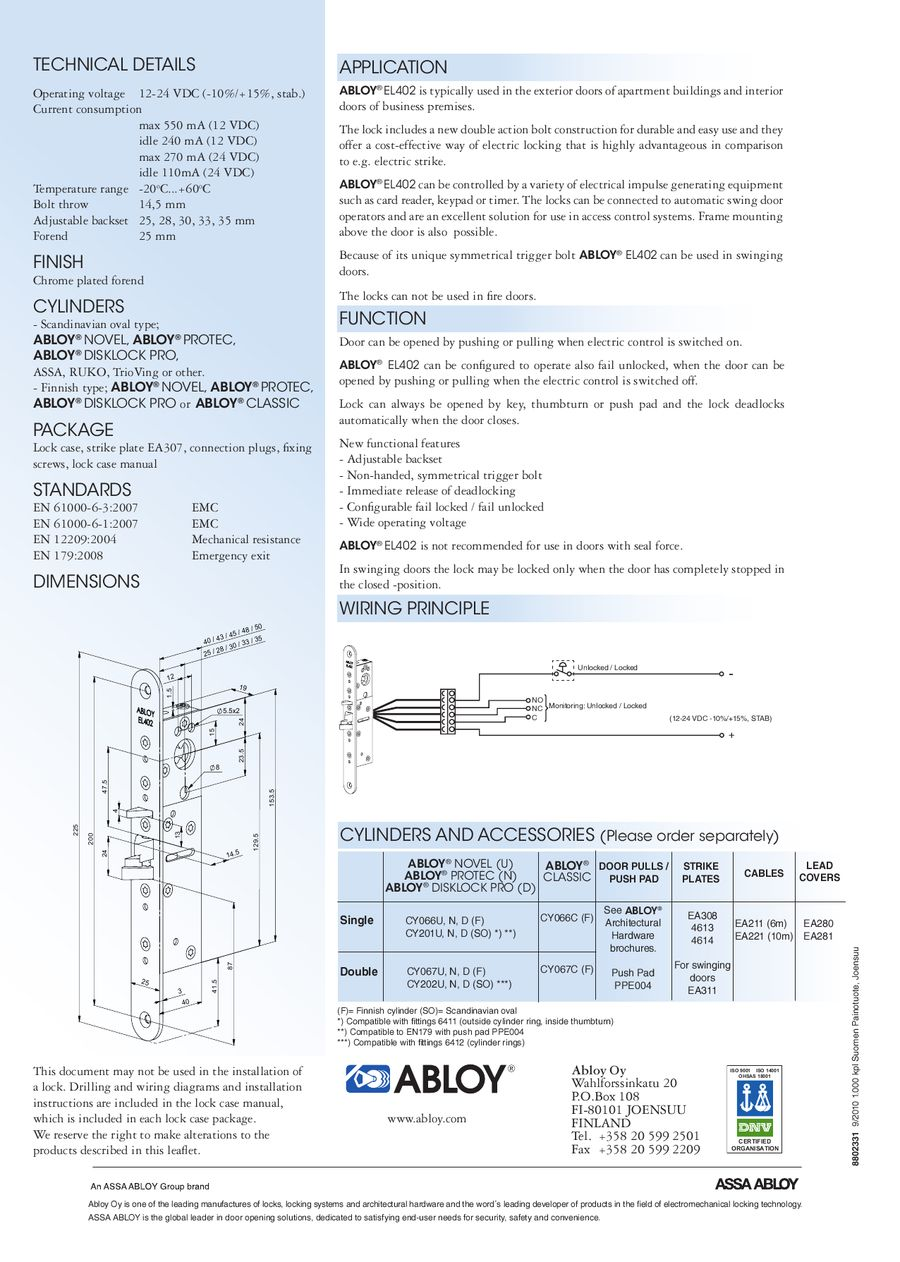 Electromechanical Lock For Narrow Stile Doors By Assa Abloy Wiring Diagrams P 1 2
