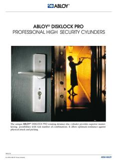 DISKLOCK PRO Professional high security cylinders