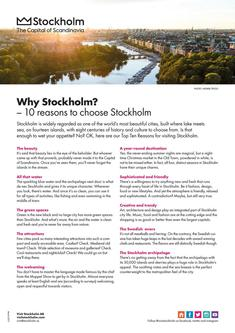 Why Stockholm - 10 reasons to choose Stockholm 2017