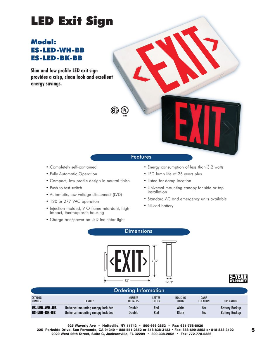 Emergency Exit Lighting By Topaz Automatic Low Power Light P 1 8